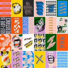 – Kastor & Pollux A collection of posters designed to empower women. Employs vibrant colours and bold typography to create a sense of strength and energy. Bold Typography, Typography Layout, Typographic Poster, Lettering, Font Design, Web Design, Layout Design, Design Art, Cover Design