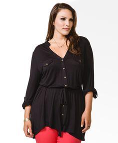 Buttoned Split Neck Tunic | FOREVER21 PLUS - 2031557538