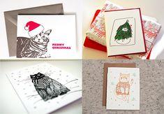 Handmade Holiday Cards With Feline Flair