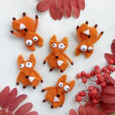 """Catch another brooch crochet pattern from a """"big eyed animals"""" crochet series. Up to now I've never met people who were not fond of foxes. This fox brooch would make an excellent gift for anyone dear to you or any fox lover would appreciate such a gift! Crochet Brooch, Diy Crochet, Crochet Stitch, Crochet Toys, Big Eyed Animals, Amigurumi Patterns, Crochet Patterns, Crochet Basics, Stuffed Toys Patterns"""