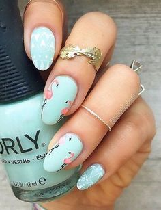 Flamingo nails #summernailart