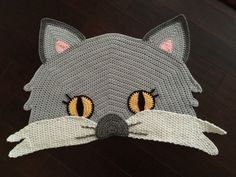 Crochet Cat Rug by PeanutButterDynamite on Etsy
