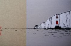 Beachy Head lighthouse. 30x20cm textile canvas. silk screen, appliqué and hand stitching. www.flosnook.co.uk Pen Drawings, Hand Stitching, Lighthouse, Creatures, Textiles, Inspire, Shades, Embroidery, Silk