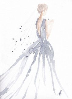 "Original watercolor fashion illustration by Carol Hannah.9"" x 12"""