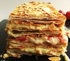 A classic Italian #pastry, which, texture and #flavor blend nicely.#Millefeuille with #berries