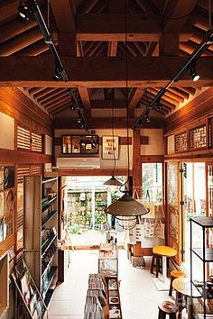 korean traditional building with high ceiling
