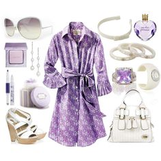 what an ensemble! Lavender and White... Wedges and Shirtdresses :) Alicia Bell