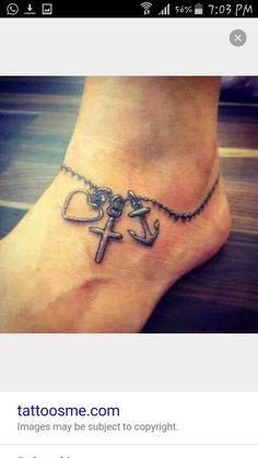 Faith Love Hope Tattoo - Meaning & Diverse Tattoo Designs For Men . - Faith Love Hope Tattoo – Meaning & diverse tattoo designs for men and women - Foot Tattoos, Body Art Tattoos, Girl Tattoos, Tatoos, Cross Tattoos, Small Tattoos, Heart Tattoos, Tattoo Thigh, Heart Anchor Tattoos