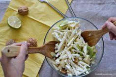 Celeriac salad with kiwi and walnuts