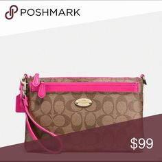 """COACH Signature Pop Pouch Wristlet F52619 COACH Signature Stripe Wristlet/Pop Pouch  This item is 100% Authentic - New in original packaging.  Light Gold/Khaki/Pink Ruby. Signature canvas with leather trim. Credit card and multi-function pockets. Zip-top closure, fabric lining. Strap with clip to form a wrist strap or small top handle. Removable pouch. 9"""" (L) x 5"""" (H) x 1 1/4 (W).  This is a signature product. Style No.: F52619 Coach Bags Clutches & Wristlets"""