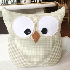 Owl Pillow sage green by Loveoffamilyandhome on Etsy