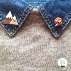 Sleepy Fox and Mountains collar brooch - polymer clay jewelry