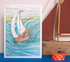 A lovely image taken from my original painting featuring Samuel Fox on another of his adventures, this time on a sailing boat with his two friends. A great choice for a sailing enthusiast or anyone who loves an adventure, this card would be ideal for a birthday or just a note to say hi. The card is blank inside for your own special message.The card is A6 (105 x 148mm) and comes cello wrapped with a white envelope. It will come carefully packaged so it reaches you in perfect ...