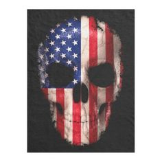 American Flag Imprinted Skull Fleece Blanket - home gifts ideas decor special unique custom individual customized individualized