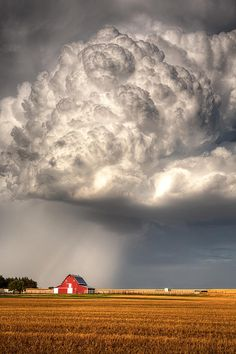 Thick cumulonimbus builds on the plains of red barn in Ellis County Kansas.