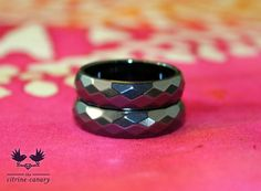 Faceted Hematite Rings