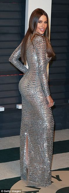 Eye-popping!The 44-year-old Colombian beauty slipped into a see-through silver gown which...