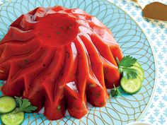 Add Cucumber-Tomato Aspic to your luncheon menu. Cucumber-Tomato Aspic pairs well with a green salad and chicken. Mold this tangy aspic in mini muffin Tomato Aspic Recipe, Tomato Salad, Chutney, Luncheon Menu, Congealed Salad, Panna Cotta, Macaroni Salad, Southern Recipes, Trifle