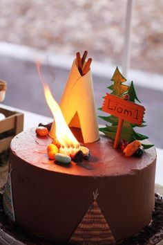 Image result for campfire birthday cake teepee