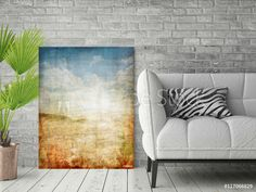 Desert Inspired Abstract Canvas Wall Art  What an inspirational piece guys. This Rustic looking Abstract Print reminds me of golden Desert. I love the natural colour pallet (Blue, White, Green and Brown). It is modern. It is contemporary. And will work in any area from entry way to living room. This is a great decorative piece for your wall. A very effective way to left up any room interior in modern or retro or urban way…