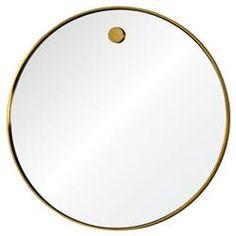 Lox Simple Modern Round Brass Mirror | Kathy Kuo Home