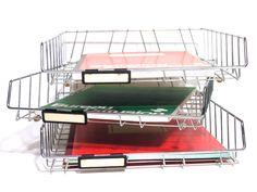 German Metal Storage Basket - Desk Organiser - Paper Storage Basket - Made in Germany - 1960 - Office and Home Decor - Industrial Design by LArriereBoutique on Etsy https://www.etsy.com/listing/230291731/german-metal-storage-basket-desk