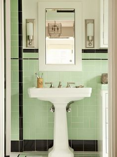 1950s bathroom 1950 39 s yellow and green bath tile redo for Avocado bathroom suite ideas