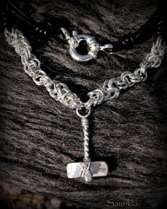 Viking style silver necklace
