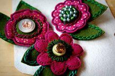 Flower felt pins
