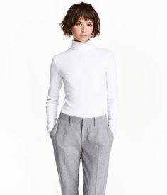 Tricot top met rolkraag | Wit | Dames | H&M NL