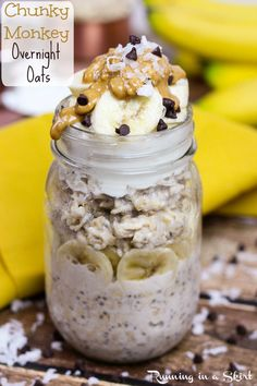 Chunky Monkey Overnight Oats recipe - healthy, clean eating breakfast! | Running in a Skirt #SpreadtheMagic #ad