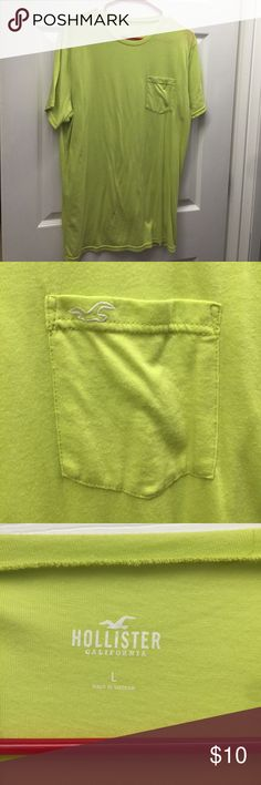 """2 for $10 Neon green Hollister tee. Like new was worn once by my husband now it no longer fits. Size is a junior men's large! (2 for $10.... is a sale going on in my closet any 2 items with the title """"2 for $10"""" you can bundle for $10!) Hollister Shirts Tees - Short Sleeve"""