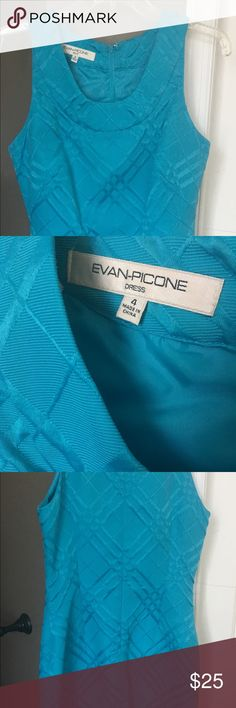 Evan Picone sheath dress, Teal, aqua, size 4 Excellent condition, teal, sleeveless Evan Picone Dresses