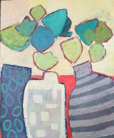 Vased Flowers   1: Fauvist Modern Milton Avery Primitive Naive Art Abstracted Landscapes Stilllifes : JILL FINSEN PAINTINGS