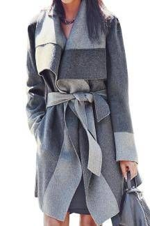 Lapel Trench Coat with Belt - US$43.95 -YOINS
