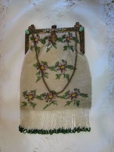 Antique Glass Beaded Purse/Bag with Violets  c. Early 1900's