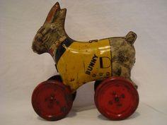 TIN-TOY-BUNNY-PULL-PUSH-TOY-LINDSTROM-TOOL-amp-TOY-CO-BRIDGEPORT-CONN-1913-40 Push Toys, Bunny Toys, Tin Toys, Tools, Amp, Ebay, Instruments, Rabbit Toys