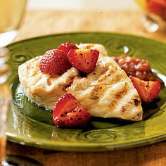 Fresh Ways with Fruit | Halibut with Rhubarb Compote and Balsamic Strawberries | CoastalLiving.com
