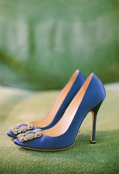 Manolo Blahnik Royal Blue Bridal Shoes with Brooch | Rebecca Arthurs Photography https://www.theknot.com/marketplace/rebecca-arthurs-photography-kona-hi-555582 | Nichole Weddings & Events https://www.theknot.com/marketplace/nichole-weddings-and-events-mililani-hi-538215 |
