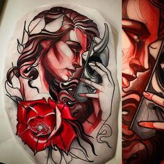 Elegant Neo Traditional Girl Tattoos By Isnard Barbosa