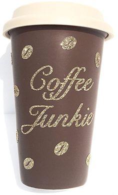 Glittered coffee junkie tumbler
