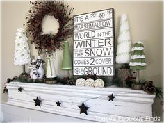 Marshmallow Wonderland Christmas and Winter Mantels