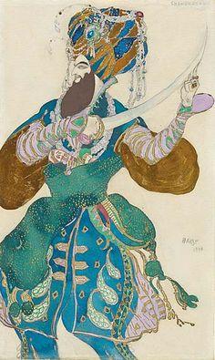 Léon Bakst - Ballets Russes - Costume - Esquisses et Croquis - Shah Zeman - Shéhérazade - 1910