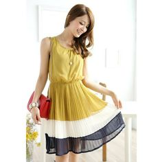 Stylish Style Scoop Neck Splicing Pleated Design Sleeveless Women's Spring Dress, GINGER, ONE SIZE in Chiffon Dresses | DressLily.com
