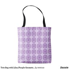 Lilac/Purple Geometric Circle  original MattiGray design tote bag available from Zazzle. This all over print  tote is also available in medium, large and as a cross body tote.