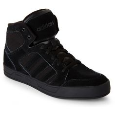 Adidas Black Neo Raleigh High Top Sneakers ($43) ❤ liked on Polyvore featuring shoes, sneakers, black, lace up shoes, hi tops, lace up sneakers, black hi tops and adidas trainers