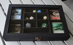Magic: The Gathering card dice deck box case wood