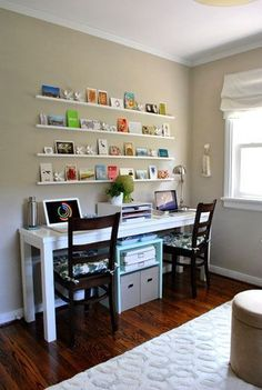 Home Office / Guest Room Makeover Is Done LOVE this small office set up for Plus the changeable wall art is pretty cool.LOVE this small office set up for Plus the changeable wall art is pretty cool.