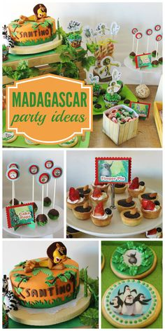A wild and fun Madagascar birthday party with cake pops, decorated cookies and a dessert table!  See more party planning ideas at CatchMyParty.com!
