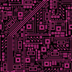 Evil Robot Circuit Board (Pink) fabric by robyriker on Spoonflower - custom fabric